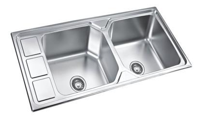 SS202 46x20 inch Anti-Scratch Double Bowl Sink