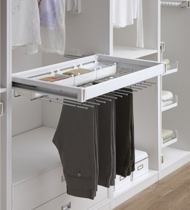 Trouser and Saree Rack with tray Pull out Soft close