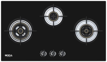 Black Glass Built in Hob Blaze 3-Burner 78 cm