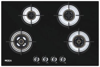 Black Glass Built in Hob Blaze 4-Burner 78 cm